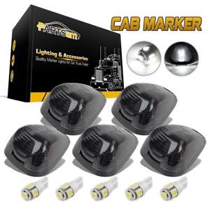 5 Black Smoked Cab Roof Marker Running Lamps W White Led Lights For Truck 4x4