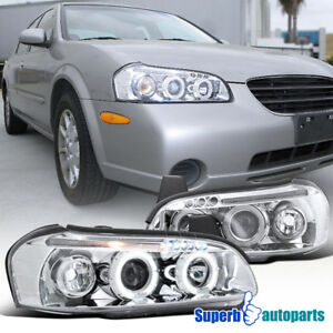 For 2000 2001 Maxima Halo Led Projector Headlights Chrome Specd Tuning