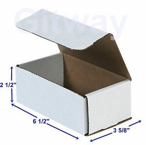 6 1 2 X 3 5 8 X 2 1 2 Small White Cardboard Packaging Mailing Shipping 50 Boxes