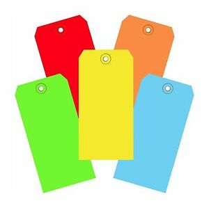 1000 Of 4 3 4 X 2 3 8 Size 5 Colored Inventory Plain Shipping Hang Tags