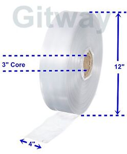 4 X 2150 Clear Poly Tubing Tube Plastic Bag Polybags Custom Bags On A Roll 2ml