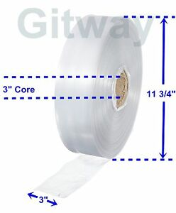 3 X 2150 Clear Poly Tubing Tube Plastic Bag Polybags Custom Bags On A Roll 2ml