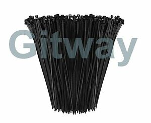 1000 14 Long Uv Nylon Plastic Black Wire Cable Loop Zip Tie Ty Ties Wraps 50lb