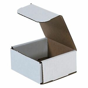 50 4x4x2 Small White Corrugated Cardboard Packaging Shipping Mailing Box Boxes