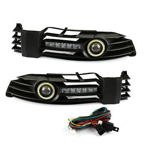 Pair Front Bumper Grille Fog Light With Led Drl For Vw Passat B5 B5 5 2001 2005
