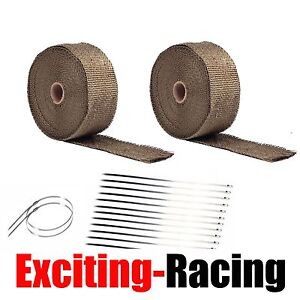 2 Roll 2 50ft Lava Titanium Basalt Exhaust Wrap Manifold Header Pipe Heat Wrap