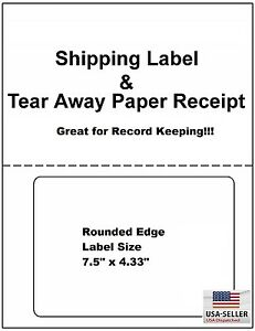 100 Laser ink Jet Labels Click n ship With Tear Off Receipt perfect For Usps