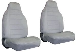 Quilted Encore Velour 2 Grey Gray High Back Bucket Car Truck Suv Seat Covers 9