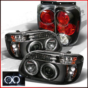 Fits 95 97 Ford Explorer Halo Led Projector Headlights Tail Lights Lamps Pair