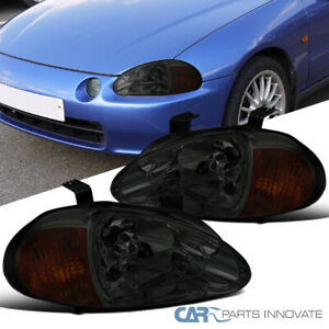 For 93 97 Honda Civic Del Sol Smoke Lens Tinted Headlights Head Lamps Left Right