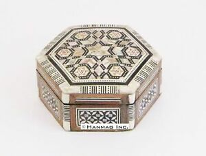Egyptian Mother Of Pearl Paua Trinket Jewelry Box Red Velvet Cushioning 656