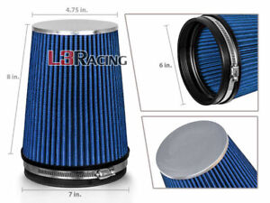 Blue 6 Inches 6 152mm Inlet Cold Air Intake Cone Long Truck Filter Mazda