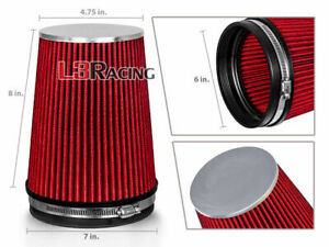 Red 6 Inches 6 152mm Inlet Cold Air Intake Cone Long Truck Filter Mazda Ford