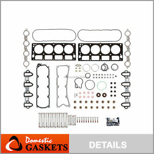 Fits Head Gasket Set Bolts 04 09 Chevrolet Gmc Cadillac Hummer 6 0l Ohv
