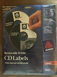 New Avery Laser Printer Removable Cd dvd Labels 5931 Pack Of 50 Free S