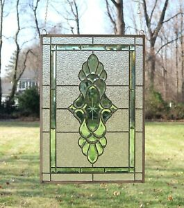 Stained Glass Green Transparent Clear Beveled Window Panel 19 X 27