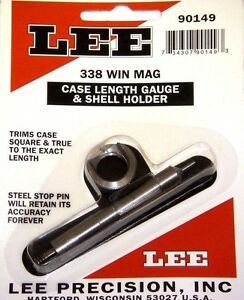 LEE 90149 * CASE LENGTH GAUGE & #5 SHELL HOLDER * 338 WIN MAG NEW