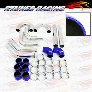 Blue 3 Inches 76mm Turbo Supercharger Intercooler Polish Pipe Kit For Nissan