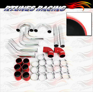 Red 3 Inches 76mm Turbo Supercharger Intercooler Polish Pipe Kit For Honda