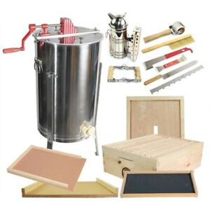 2 Frame Honey Extractor W Honey Bee Brood Box Beehive Tool Kit Glbsebroodcts1