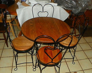 Solid Oak Iron Ice Cream Parlor Table Chairs Dc13
