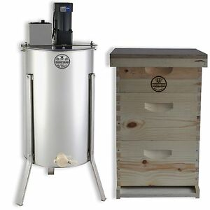 3 Tier Bee Hive Kit Electric 2 Frame Honey Extractor Frames Cover Gl e2m 2bk1sk