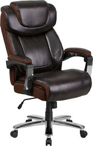 500 Lb Capacity Big Tall Brown Leather Executive Swivel Office Chair
