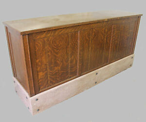 Antique Oak Country Store Counter With Brown Marble Base 7 Feet Long Drawers