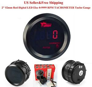 Us 2 52mm Red Digital Led Elec 0 9999 Rpm Tachometer Tacho Gauge Car Motor