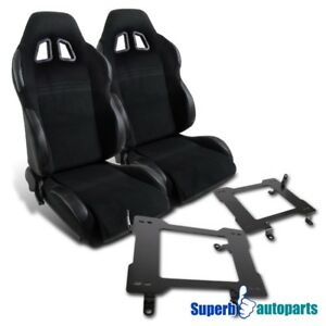 99 04 Mustang Black Pvc Leather Reclinable Racing Seats laser Welded Brackets