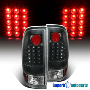 For 97 03 Ford F150 F250 F350 F450 F550 Styleside Black Led Tail Brake Lights