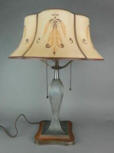 Pairpoint Curved Carmel Panel Lamp Antique