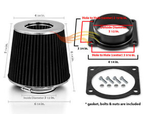Black Cone Dry Filter Air Intake Maf Adapter Kit For 97 03 Mountaineer V6