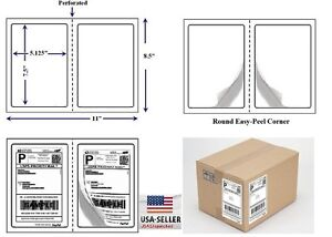 Perforated 600 Quality Round Corner Shipping Labels 2 Per Sheet 7 5 X 5 125