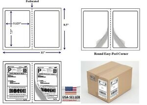 Perforated 1000 Quality Round Corner Shipping Labels 2 Per Sheet 7 5 X 5 125