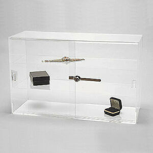 Acrylic Display Showcase Sliding Doors W Two Shelves 21 1 4 X 7 1 2 X 13 1 4 h