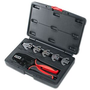 Interchangeable Ratcheting Terminal Crimper Set 6 Die Sets Quick Change
