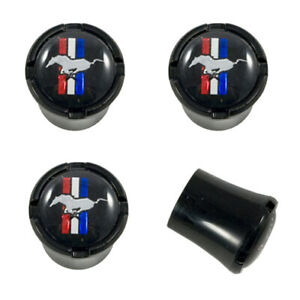 Ford Mustang All Black Tire Air Valve Stem Caps With Running Horse