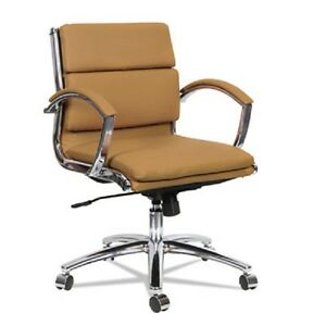 Lot Of 12 Low Back Camel Leather Office Chair With Padded Arms