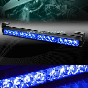18 Led Blue Traffic Advisor Emergency Warning Flash Strobe Light Bar Universal