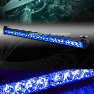 27 Led Blue Traffic Advisor Emergency Warning Flash Strobe Light Bar Universal