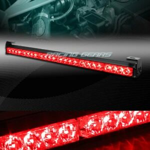 27 Led Red Traffic Advisor Emergency Warning Flash Strobe Light Bar Universal 7