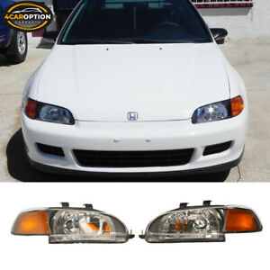 Fits 92 95 Honda Civic Coupe Hatchback Jdm Black Headlights