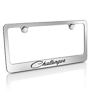 Dodge Challenger Classic Chrome Brass Metal License Plate Frame Licensed