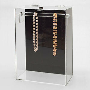 Acrylic Necklace Display Jewelry Showcase W Top Bar 10 1 4 X 5 1 4 X 15 h