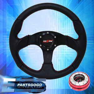 Pvc Leather Steering Wheel Slim Red Quick Release Godsnow Button Universal