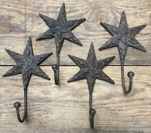 2 Star Hooks Coat Hat Wall Rustic Cast Iron Vintage Antique Style Decor 8x4 1 2
