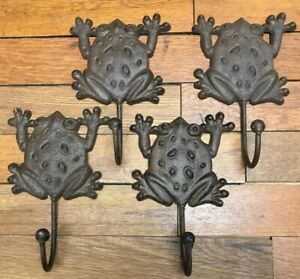 2 Frog Hooks Coat Hat Wall Rustic Cast Iron Vintage Antique Style Decor 7x4 1 2