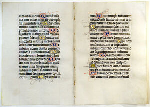 Medieval Illuminated Manuscript Book Of Hours Two Joined Leaves C 1450 Gold
