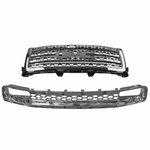 Oem Chrome Honeycomb Upper Lower Grille Kit Set For Gmc Sierra Denali Pickup